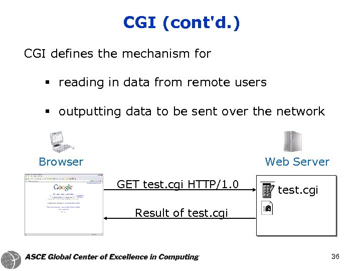 CGI (cont'd. ) CGI defines the mechanism for § reading in data from remote