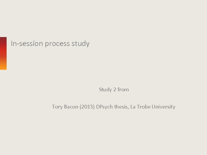 In-session process study Study 2 from Tory Bacon (2013) DPsych thesis, La Trobe University