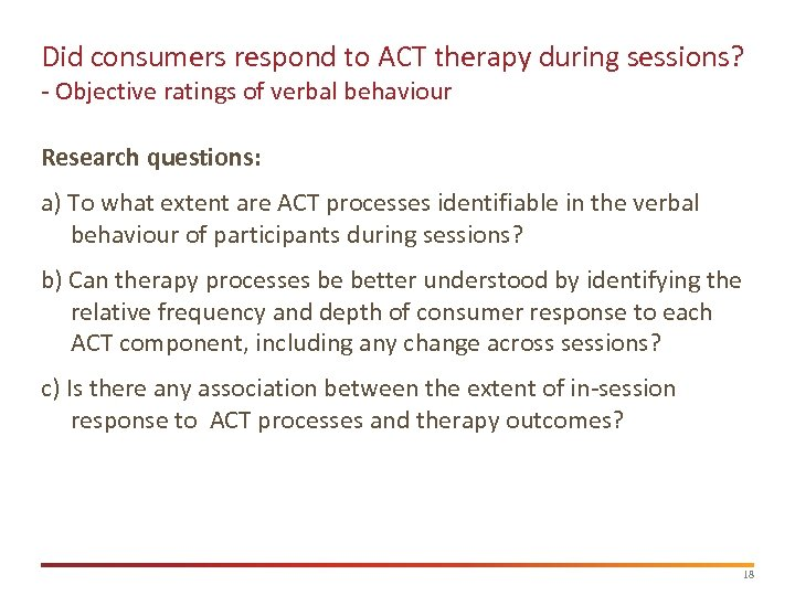 Did consumers respond to ACT therapy during sessions? - Objective ratings of verbal behaviour