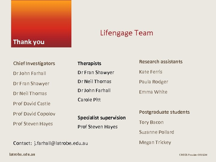 Lifengage Team Thank you Chief Investigators Therapists Research assistants Dr John Farhall Dr Fran