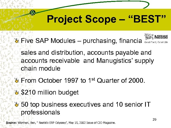 "Project Scope – ""BEST"" Five SAP Modules – purchasing, financials, sales and distribution, accounts"