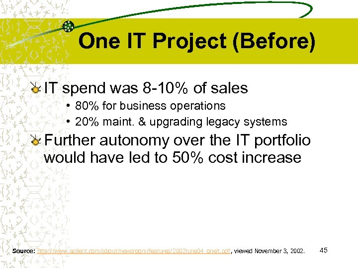 One IT Project (Before) IT spend was 8 -10% of sales • 80% for