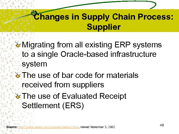 Changes in Supply Chain Process: Supplier Migrating from all existing ERP systems to a
