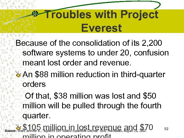 Troubles with Project Everest Because of the consolidation of its 2, 200 software systems