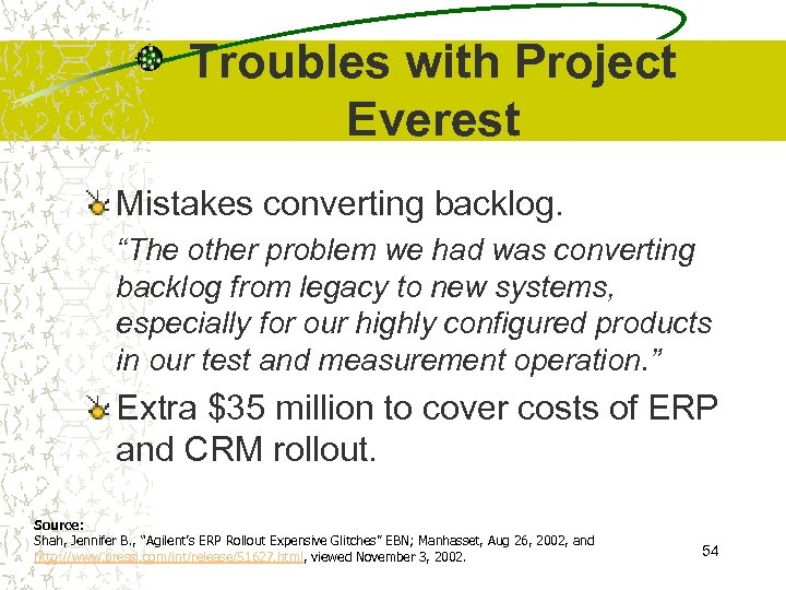 "Troubles with Project Everest Mistakes converting backlog. ""The other problem we had was converting"