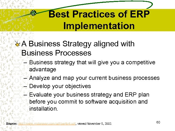 Best Practices of ERP Implementation A Business Strategy aligned with Business Processes – Business