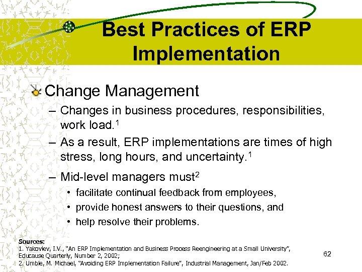 Best Practices of ERP Implementation Change Management – Changes in business procedures, responsibilities, work