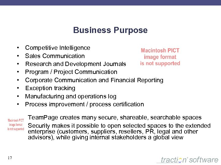 Business Purpose • • Competitive Intelligence Sales Communication Research and Development Journals Program /