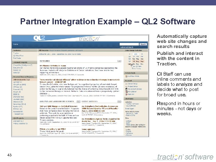 Partner Integration Example – QL 2 Software Automatically capture web site changes and search