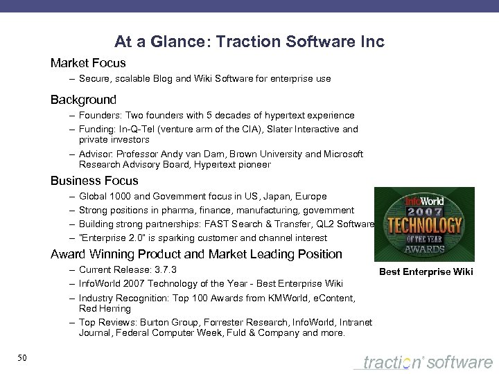 At a Glance: Traction Software Inc Market Focus – Secure, scalable Blog and Wiki