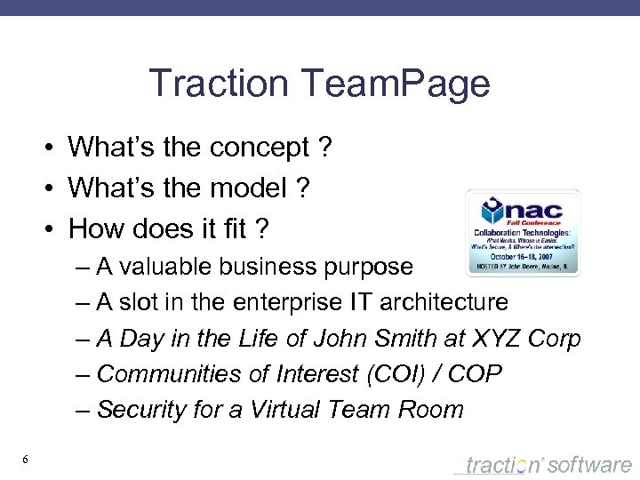 Traction Team. Page • What's the concept ? • What's the model ? •