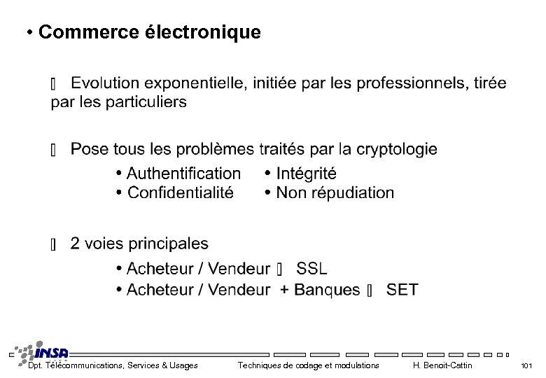 • Commerce électronique Dpt. Télécommunications, Services & Usages Techniques de codage et modulations