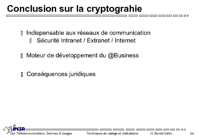 Conclusion sur la cryptograhie Dpt. Télécommunications, Services & Usages Techniques de codage et modulations