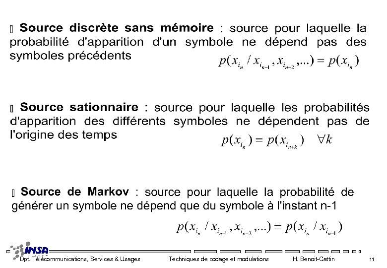 Dpt. Télécommunications, Services & Usages Techniques de codage et modulations H. Benoit-Cattin 11