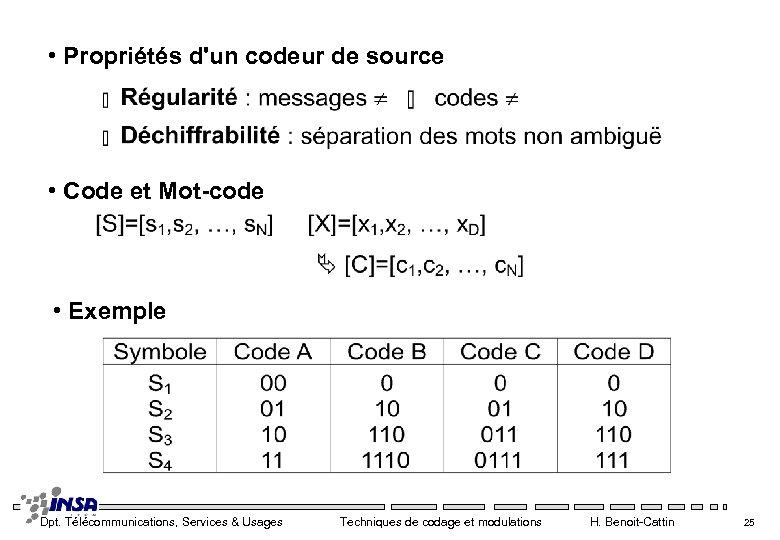 • Propriétés d'un codeur de source • Code et Mot-code • Exemple Dpt.