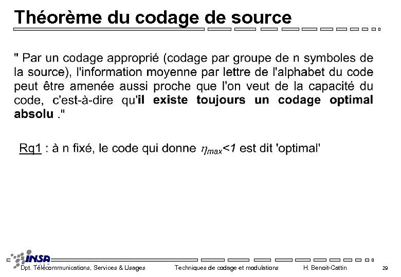 Théorème du codage de source Dpt. Télécommunications, Services & Usages Techniques de codage et