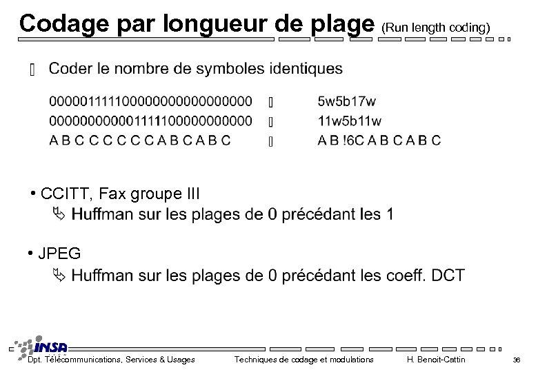 Codage par longueur de plage (Run length coding) • CCITT, Fax groupe III •