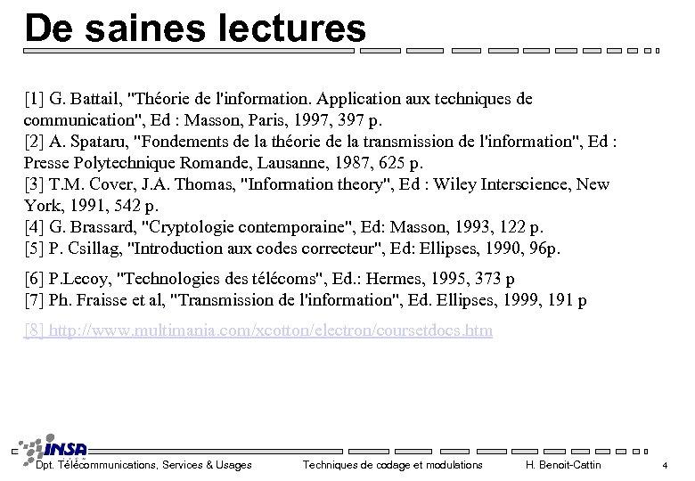 De saines lectures [1] G. Battail,