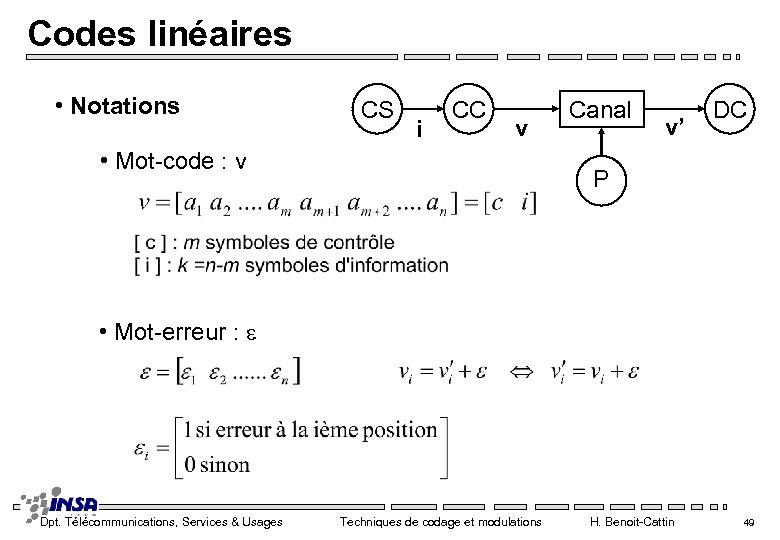 Codes linéaires • Notations CS i CC v • Mot-code : v Canal v'
