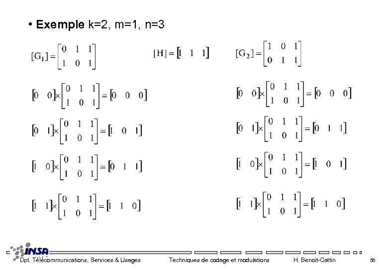 • Exemple k=2, m=1, n=3 Dpt. Télécommunications, Services & Usages Techniques de codage
