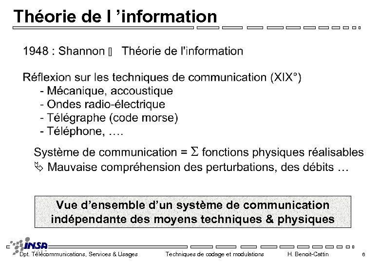 Théorie de l 'information Vue d'ensemble d'un système de communication indépendante des moyens techniques