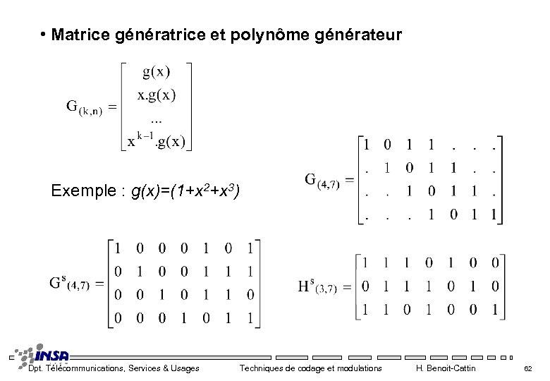 • Matrice génératrice et polynôme générateur Exemple : g(x)=(1+x 2+x 3) Dpt. Télécommunications,