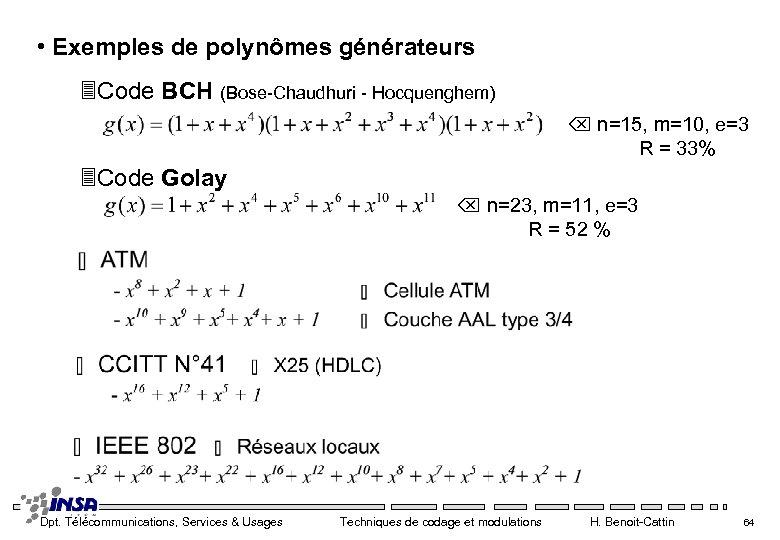 • Exemples de polynômes générateurs 3 Code BCH (Bose-Chaudhuri - Hocquenghem) n=15, m=10,