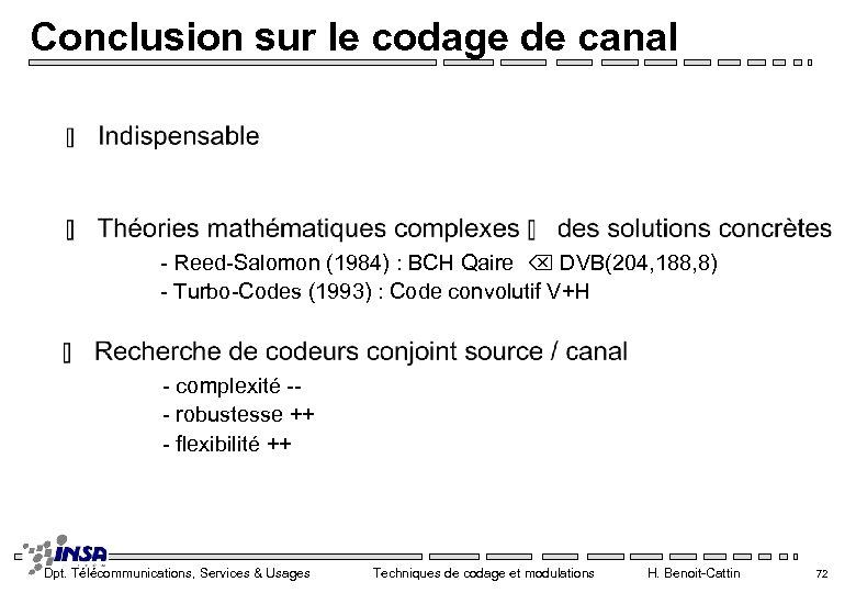 Conclusion sur le codage de canal - Reed-Salomon (1984) : BCH Qaire DVB(204, 188,