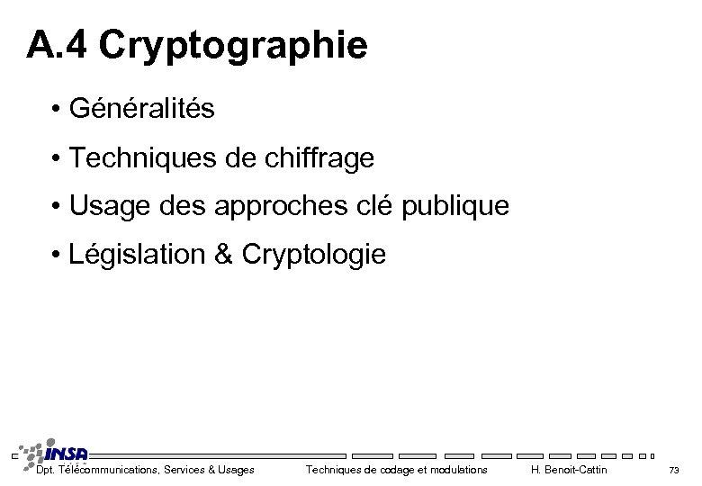 A. 4 Cryptographie • Généralités • Techniques de chiffrage • Usage des approches clé