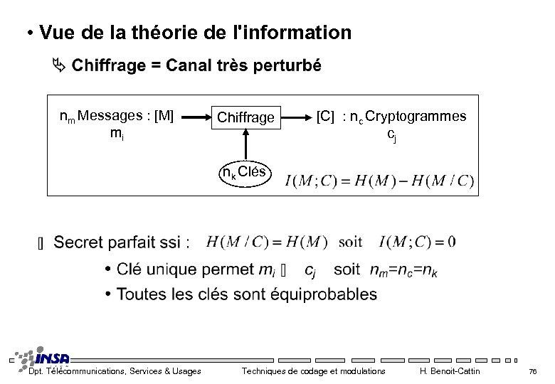 • Vue de la théorie de l'information nm Messages : [M] mi Chiffrage
