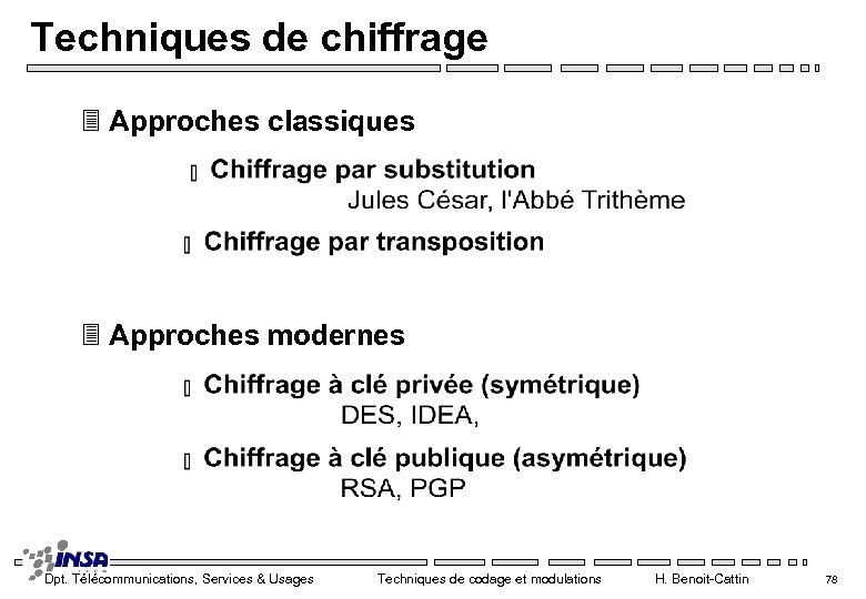 Techniques de chiffrage 3 Approches classiques 3 Approches modernes Dpt. Télécommunications, Services & Usages