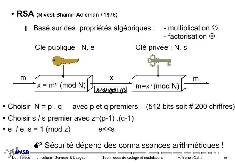 • RSA (Rivest Shamir Adleman / 1978) Clé publique : N, e m