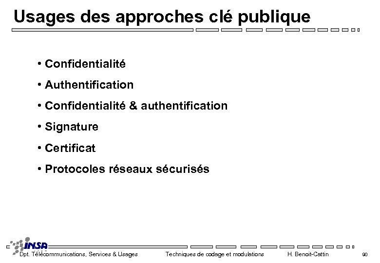 Usages des approches clé publique • Confidentialité • Authentification • Confidentialité & authentification •