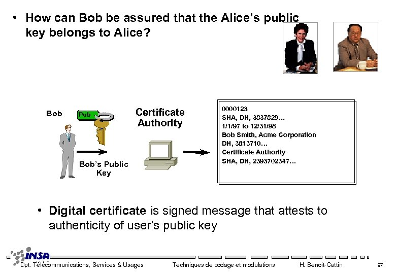 • How can Bob be assured that the Alice's public key belongs to