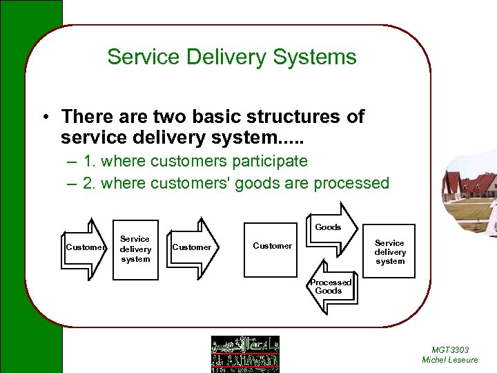 Service Delivery Systems • There are two basic structures of service delivery system. .
