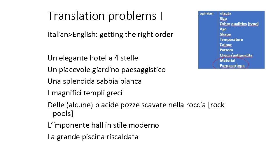 Translation problems I Italian>English: getting the right order Un elegante hotel a 4 stelle