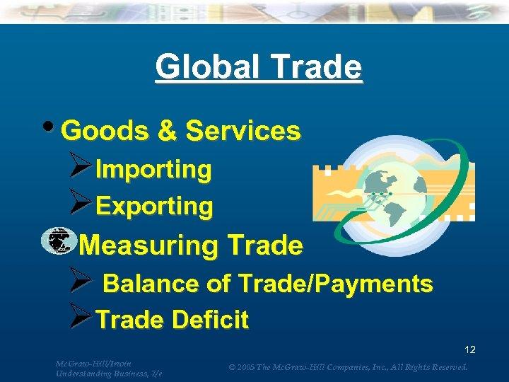 Global Trade • Goods & Services ØImporting ØExporting Measuring Trade Ø Balance of Trade/Payments