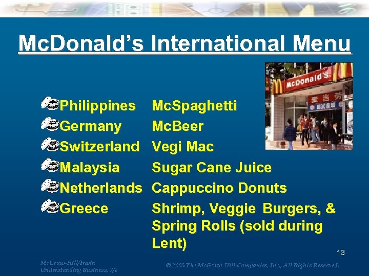 Mc. Donald's International Menu Philippines Germany Switzerland Malaysia Netherlands Greece Mc. Graw-Hill/Irwin Understanding Business,