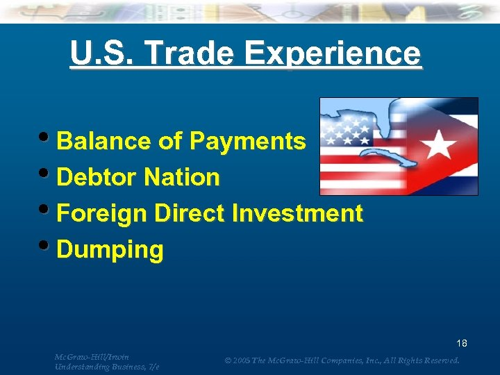 U. S. Trade Experience • Balance of Payments • Debtor Nation • Foreign Direct