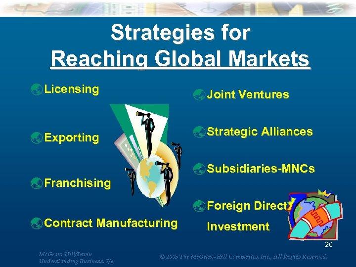 Strategies for Reaching Global Markets ý Licensing ý Joint Ventures ý Exporting ý Strategic