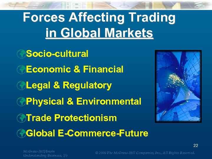 Forces Affecting Trading in Global Markets üSocio-cultural üEconomic & Financial üLegal & Regulatory üPhysical