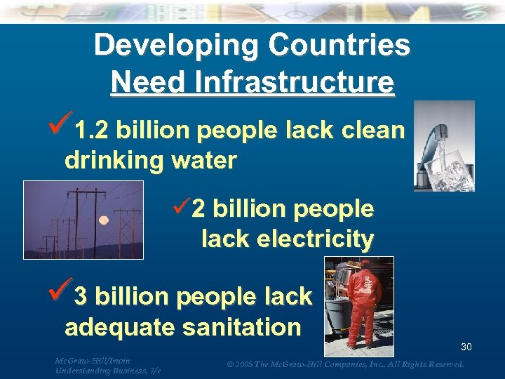 Developing Countries Need Infrastructure ü 1. 2 billion people lack clean drinking water ü