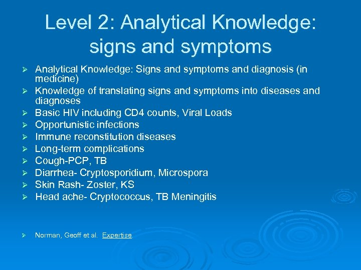 Level 2: Analytical Knowledge: signs and symptoms Ø Ø Ø Ø Analytical Knowledge: Signs