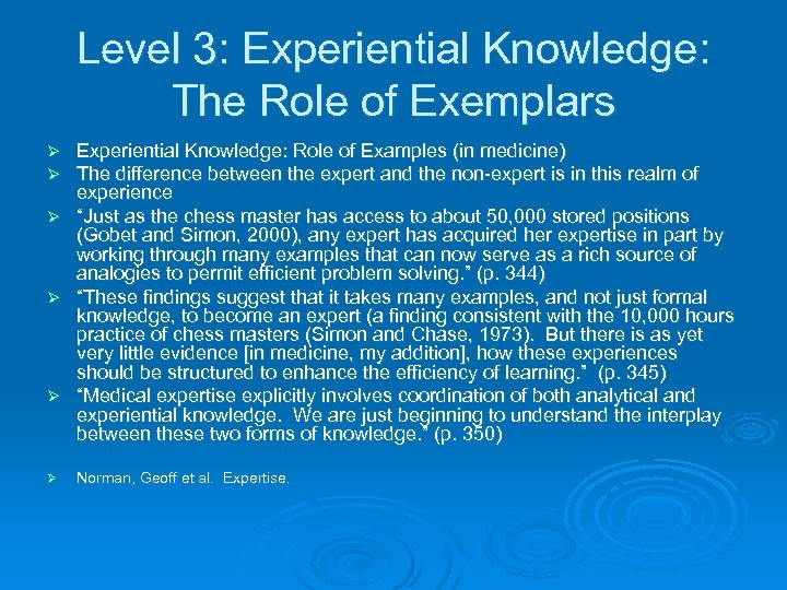 Level 3: Experiential Knowledge: The Role of Exemplars Experiential Knowledge: Role of Examples (in