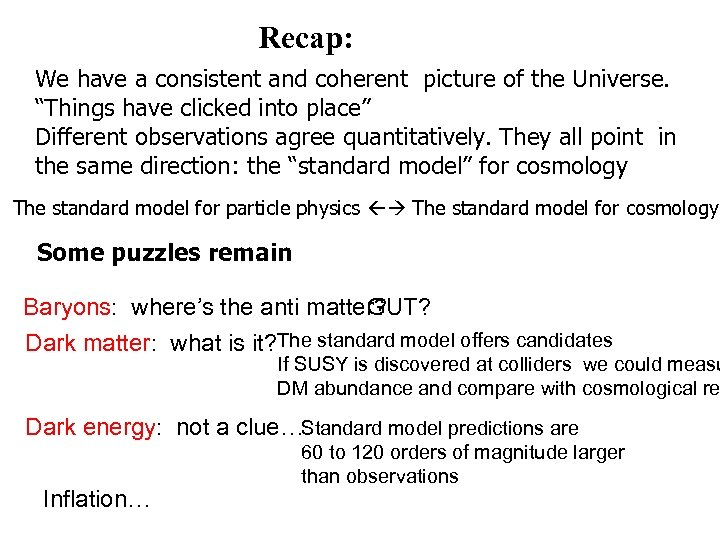"""Recap: We have a consistent and coherent picture of the Universe. """"Things have clicked"""