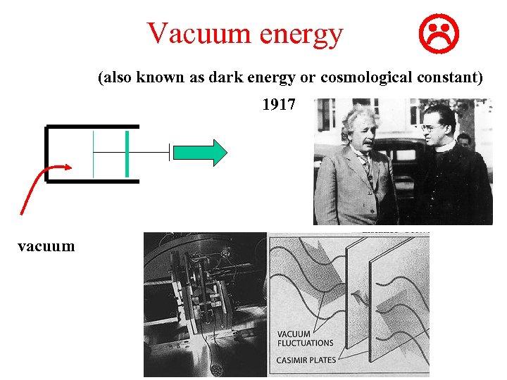 Vacuum energy L (also known as dark energy or cosmological constant) 1917 vacuum