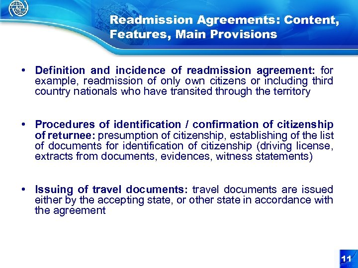 Readmission Agreements: Content, Features, Main Provisions • Definition and incidence of readmission agreement: for