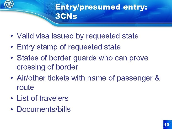 Entry/presumed entry: 3 CNs • Valid visa issued by requested state • Entry stamp