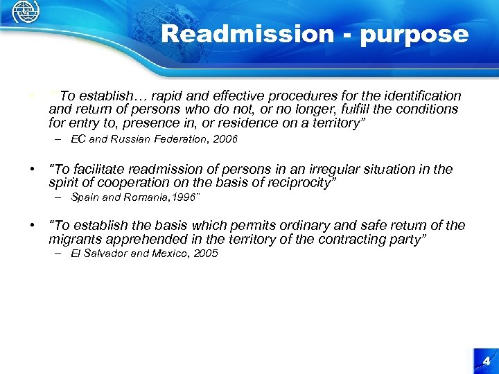 "Readmission - purpose • *""To establish… rapid and effective procedures for the identification and"