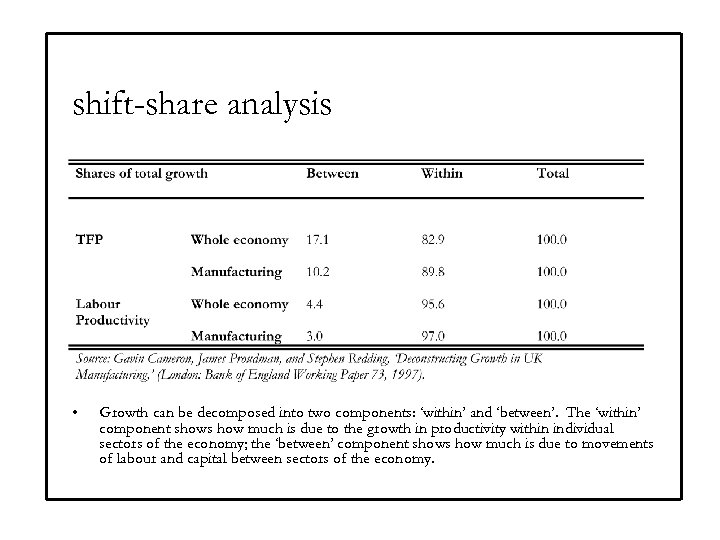 shift-share analysis • Growth can be decomposed into two components: 'within' and 'between'. The